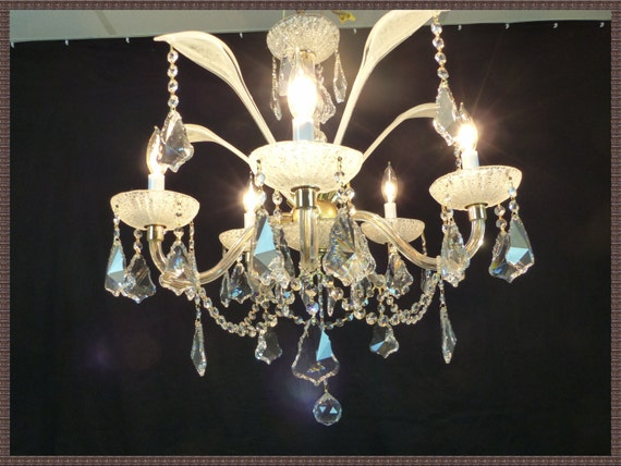 Vintage Italian Crystal Chandelier Hand Made Venetian Crystal