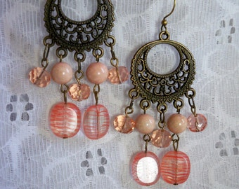 Handmade Vintage Style Antiqued Brass and Pink Glass Drop Boho Earrings