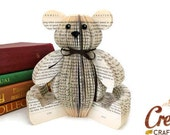 Handmade Teddy Bear - Book Art  Free Standing Ted Unusual unique -gift for teddy bear lover - teddy bear gift - teddy bear lover gift