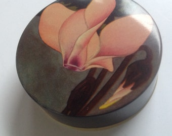 Vintage Carter's Idealtypewriter ribbon  collectible tin  pink orchid flower decoration