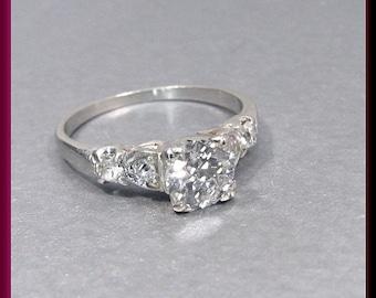Antique Vintage 1940's Retro Platinum Diamond Engagement Ring Wedding Ring
