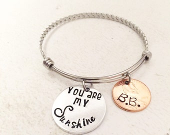 You are my Sunshine - Mother's bracelet - Hand stamped jewelry - You are my Sunshine jewelry - Bracelet with child's name - Penny jewelry