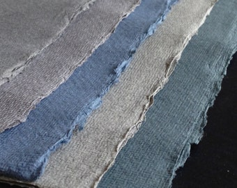 Mixed Greys, Blues Cotton Rag, 10 sheets Khadi handmade paper, A4 21x30cm  8.25x11.8inches, 5 color sample pack