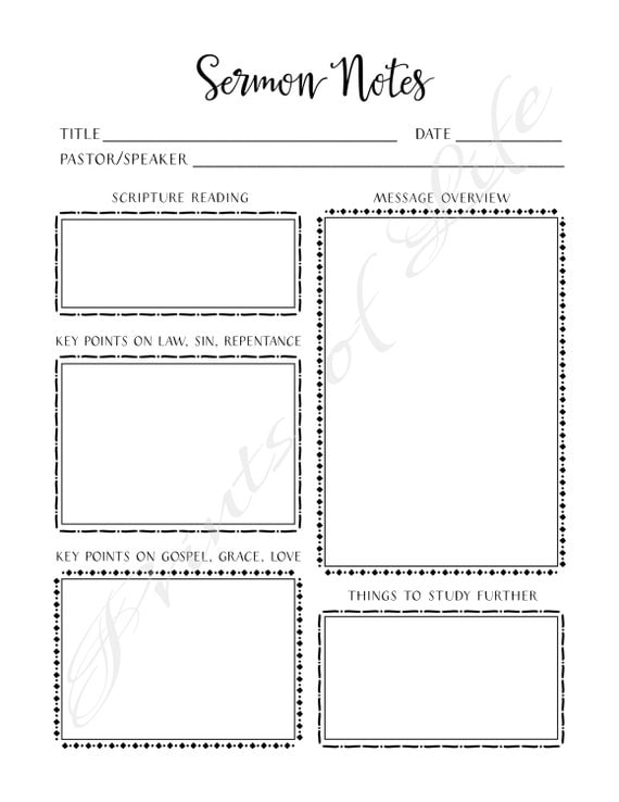 Sermon Notes PDF printable Instant download Worship Notes – Bible Worksheets for Adults