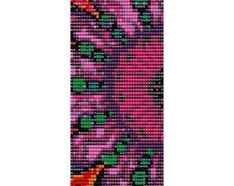 Hot Pink Flower Loom Beaded Cuff Bracelet Pattern