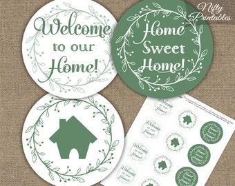 Housewarming Cupcake Toppers - Printable House Warming Party Toppers - Green White Housewarming Favors - Sage Green Housewarming Decorations