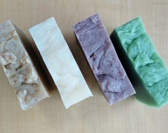SALE 4 Bars of Handmade Soap - Hot Process - Organic Ingredients - Made in Canada - Bath and Beauty - ARK Ceramics & Gifts