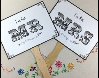 Paddle Fans, Double Sided Wedding Sign, Black and White Wedding Sign, Mr & Mrs Wedding Sign, Thank You Wedding Sign, Photo Prop Signs