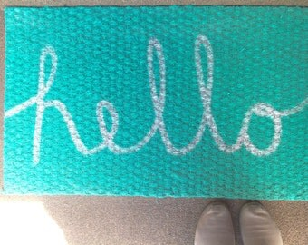 Mint Hello Welcome Mat Hello Door Mat