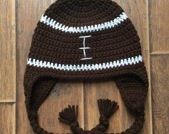 Crocheted Football earflap hat **Customizable**