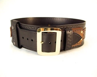 Kilt Belt Double Layer Kilt Belt Leather Belt with Brass Buckle