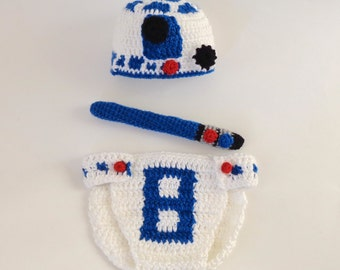 R2D2  Costume Hat And Diaper Cover With Light Saber From Star Wars For Girl /Boy Newborn, Child, Teen, Adult - Halloween