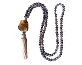 Chinoiserie Necklace with Agate Pendant and White Silk Tassel