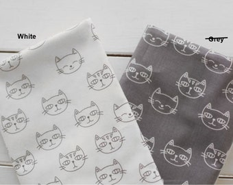 Cotton Fabric Cat Face White By The Yard