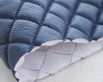Quilted Faux Leather Fabric Navy