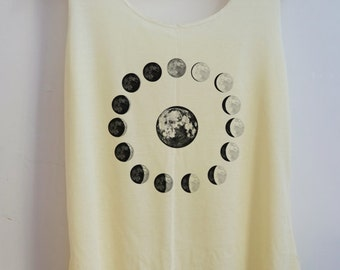 CLEARANCE Moon Phases Vintage Tank Top Art  T-Shirt Galaxy Shirt Shirt Women Shirt  Women T-Shirt Tunic Top Vest Sleeveless Size S,M,L