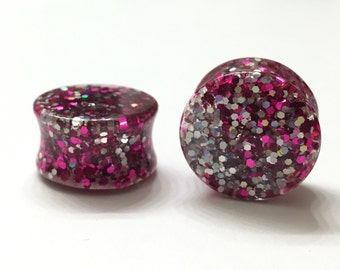 "18mm (11/16"") Pink & Platinum Glitter Plugs - Double Flare - Stretched Ears"