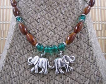Beaded Safari  Necklace with Elephant pendants