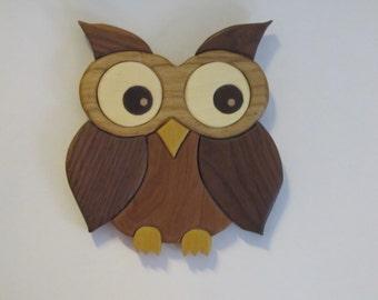 Intarsia wide eyed owl