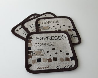 Linen coasters, Set of 4,Fabric coasters ,drink coasters