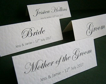 10 Personalised Wedding Place Name Cards - Any Text Any Colour