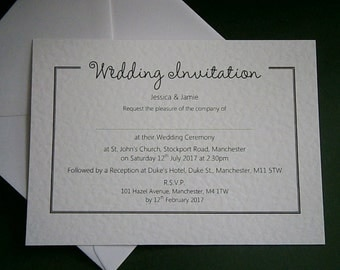 10 Personalised Wedding / Evening Invitations
