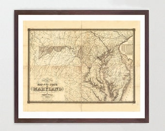 Maryland Map - Map Art - Map Decor - State Map - Maryland Art - Maryland Decor - Maryland Wall Art - Old Map - Map Wall Decor - Maryland