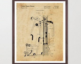 Exercise Patent - Weight Lifting Poster - Gym Art - Body Building Poster - GYM Patent - Exercise - Workout - Weights - Lifting Art - Gym