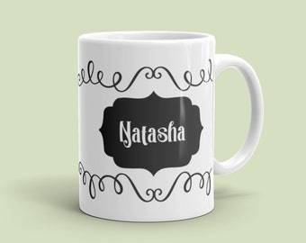 11 ounce Personalized Ribbon Borders Coffee Mug