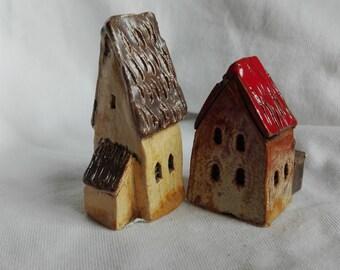 Old Town house Little house Tiny house  Miniature ceramic house Home Décor Christmas decor