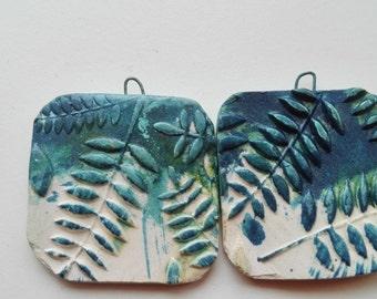 Ceramic Bead Pair -Earring Bead Pair  Earring Dangles  Handmade ceramic beads