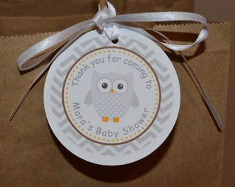 Owl Theme Favor Tags - Owl Gift Tag - Owl Baby Shower - Baby Shower Favor Tag - Yellow and Gray - Set of 12