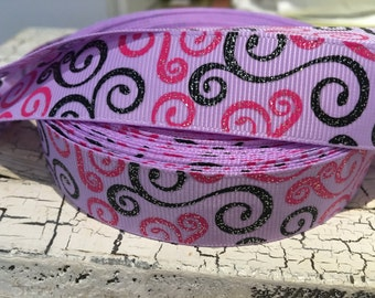 "3 yards Glitter Hot Pink and Black Swirl Loops 7/8"" on Lilac Grosgrain Ribbon"