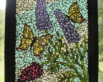 "Butterfly Mosaic Stained Glass Mosaic ""Buddleja and Butterflies"" OOAK"