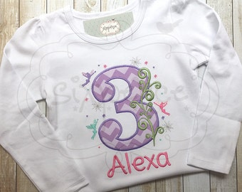 Fairy Birthday Shirt | Fairy Princess Outfit | Shirt or Bodysuit | Custom Embroidered and Appliqued | Personalized | By Sixpence