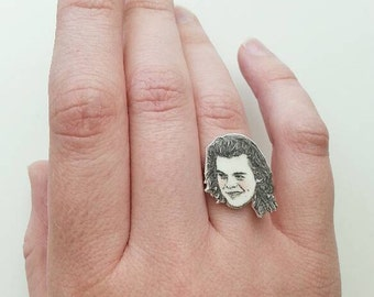 Harry Styles/ One Direction/ 1D/ Illustrated Adjustable Ring