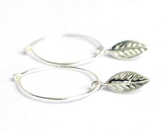 Silver hoop earrings - silver leaf earrings - leaf jewellery - sterling silver earrings - silver leaf earrings - Bridesmaids Gift - UK made