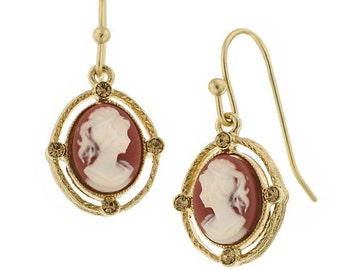 Delicate Beautiful Cameo Gold Tone Dangle Earrings Silk Road Jewelry