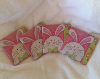 Natural Stone Easter Bunny Coasters, Beverage Coasters