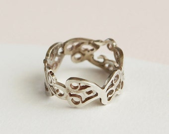 On Sale Silver filigree ring, Silver Butterfly Lace ring, original design pattern band ring.