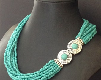 Turquoise Seed Bead Princess Length Necklace