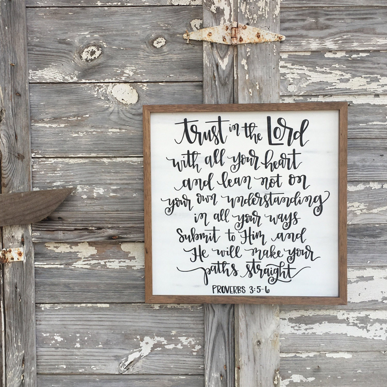Trust In The Lord Proverbs 3 5 6 Distressed Wood Sign