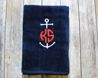 Anchor & Monogrammed Personalized Embroidered Beach Towel