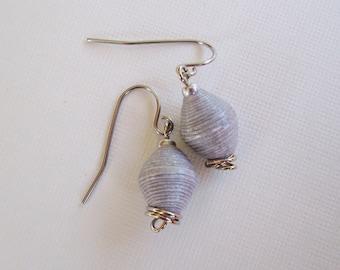 CLEARANCE - Handmade Paper Bead Earrings - Silver