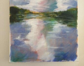 Maine Lake - Original Acrylic Landscape Painting