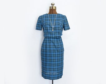 1950s Two Piece Skirt and Blouse Set in Plaid Size Small