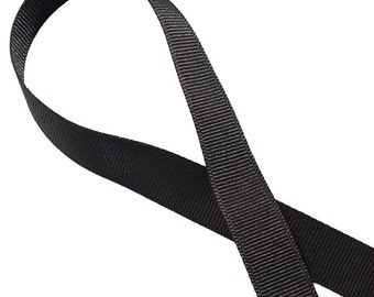 7/8 Solid Ribbon, Solid Grosgrain Ribbon, BLACK Ribbon -5yds