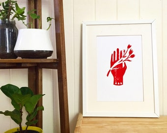 SALE - Limited edition Tulips linoprint - A4