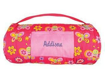 Personalized Butterfly Nap Mat Sleeping Bag Preschool, Nursery, kindergarten Nap Mat, Pink Butterfly monogrammed Sleeping Bag