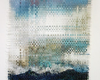 Turquoise Clouds Paper Weaving- Abstract Art- Ocean Blue, White, Beige- Two Woven Prints- 16x20